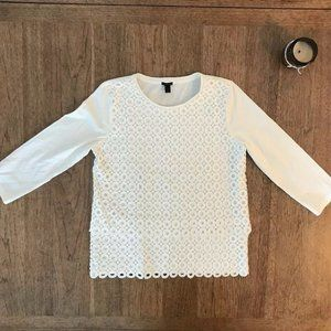 J Crew 3/4 Ivory Layered Embroidered Shirt Small